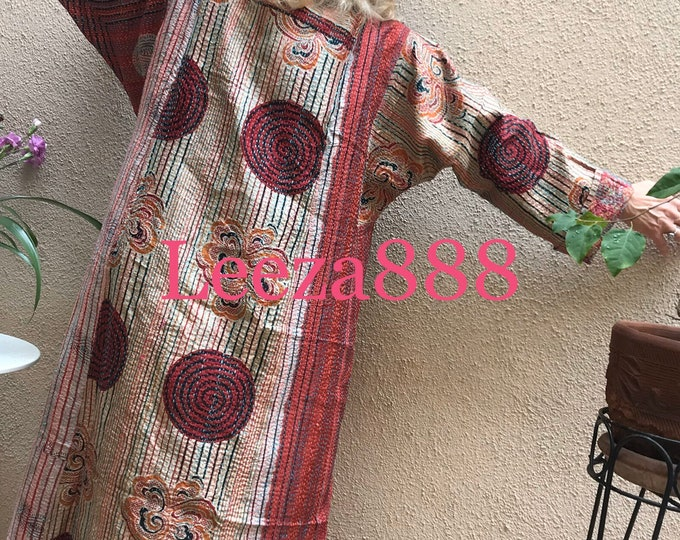 Circle of love plus size reversible silk kantha duster/kimono