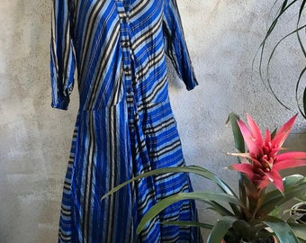 Washed dupioni silk striped housedress style