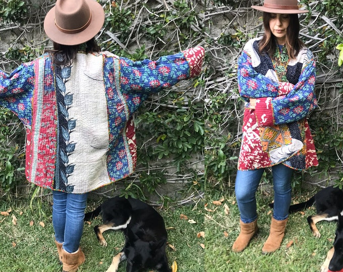 Flowers in Florence plus size reversible cotton kantha coat