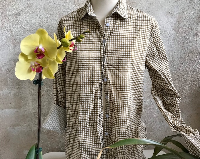 Washed hand blockprint windowpane cotton classic button down boyfriend shirt