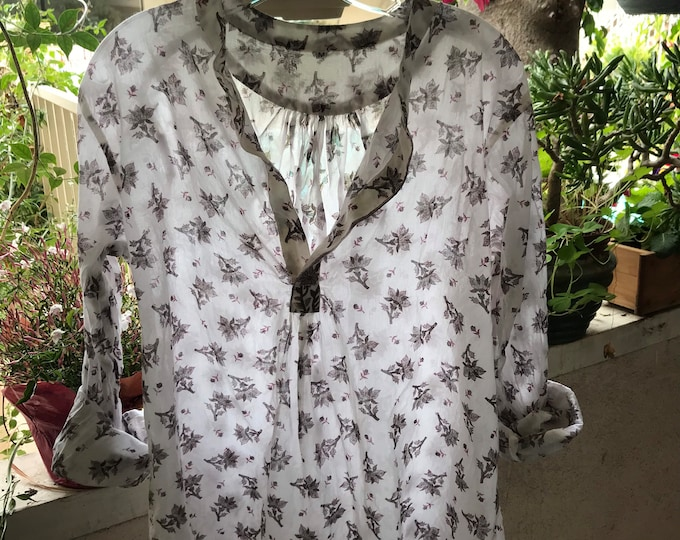 The Alexandra pullover shirt in hand blockprint taupe floral print cotton voile
