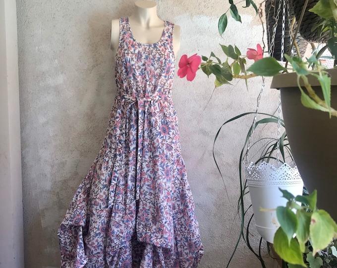 Floral block print cotton voile picnic dress.