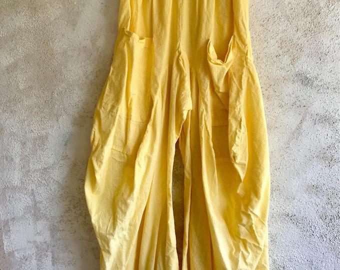 Yellow gingham check lagenlook pant