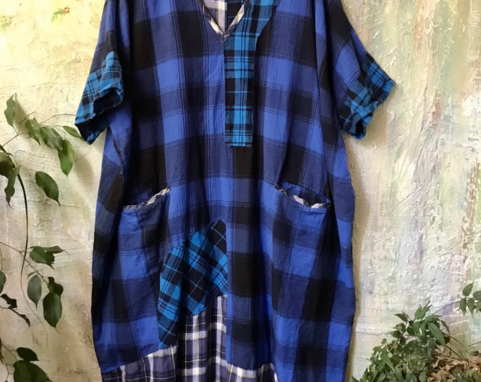 The Luxe Mixed flannel plaid Caftan in a petite size