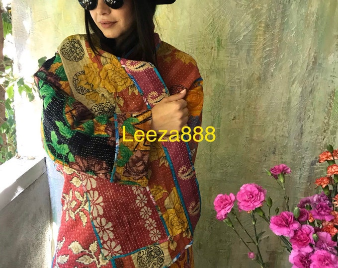 Italian vacation reversible plus size vintage kantha kimono jacket