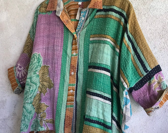 Button down cotton lightweight kantha Tokyo shirt