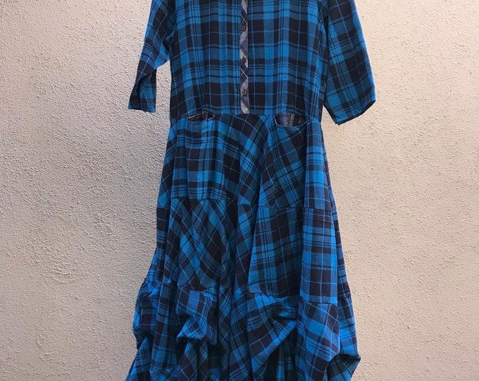Shirtwaist prairie dress mixed print cotton flannel in electric blues