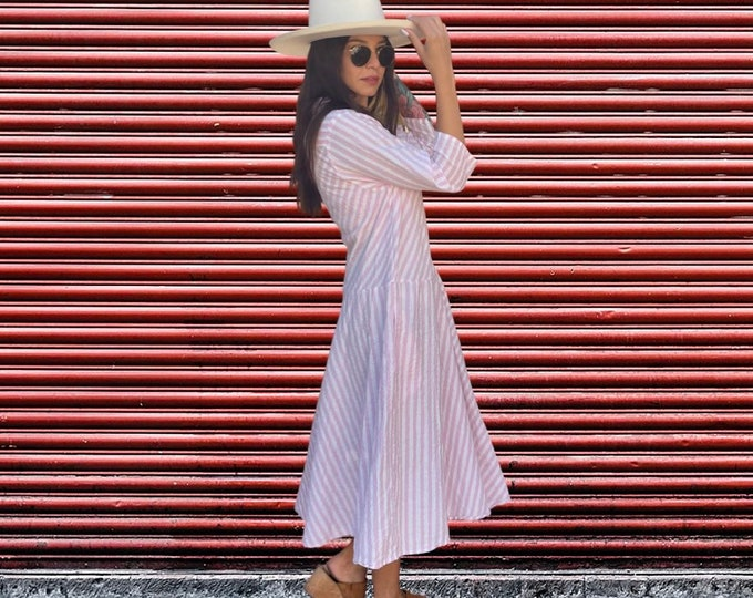 Pink striped cotton simple uncomplicated housedress