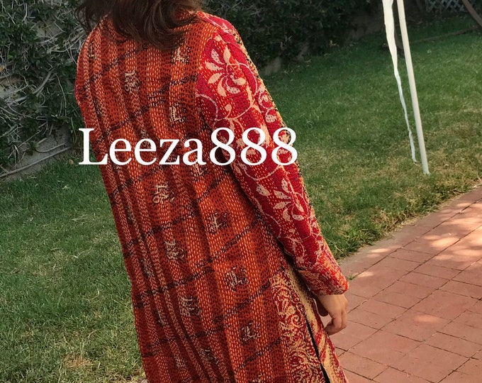 Red hot flames of color in this stunning reversible longer silk kantha one button duster