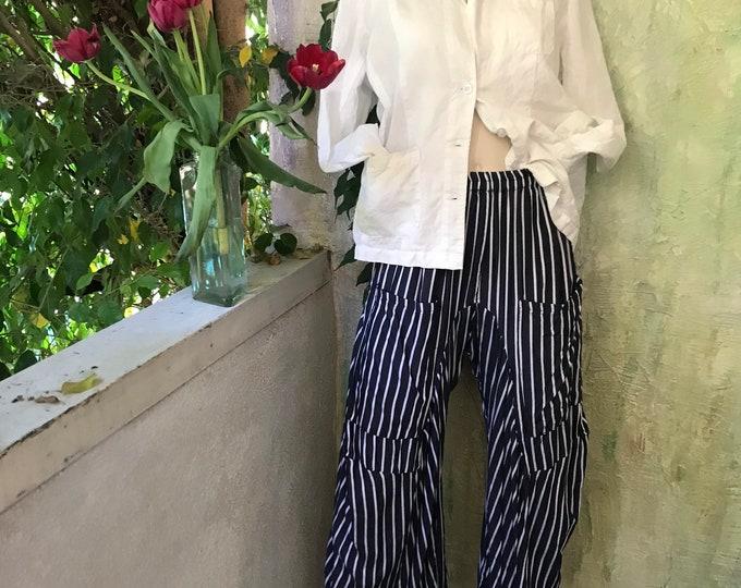 Black and white soft drapey stripe lagenlook pant