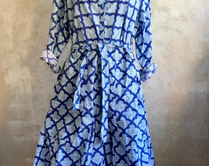 Block print cotton poplin funky dress with pockets