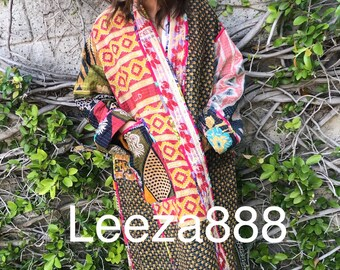 Plus size reversible opera kantha coat
