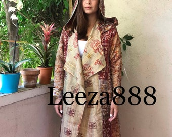 Mozart in the morning silk kantha reversible hoodie