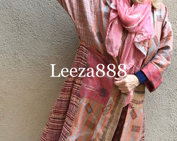 Antique tapestry plus size reversible silk kantha duster/kimono