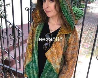 Emerald and gold nomad hooded silk reversible kantha coat