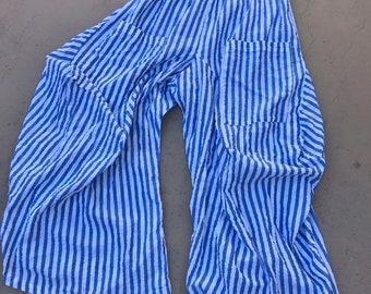 blue lurex stripe cotton lagenlook pant