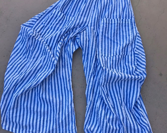blue lurex stripe cotton lagenlook pant