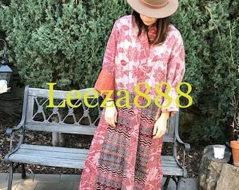 Pomegranate plus size reversible silk kantha duster/kimono