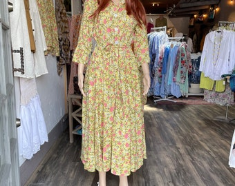 Cotton shirtdress in floral block print with 8 gore skirt and pockets
