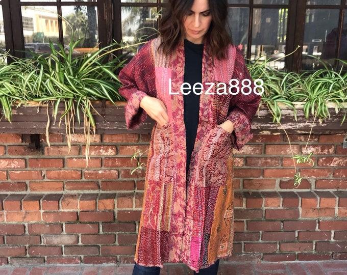 Cabernet coloured silk kantha reversible kimono