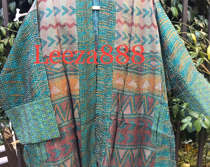 Mother Nature's choice silk kantha plus size reversible kimono jacket