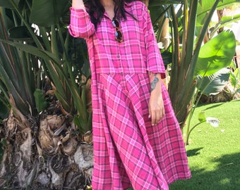 Cotton flannel pink plaid housedress