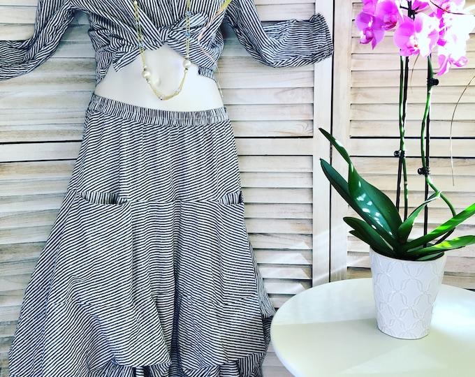 Tie up prairie skirt with lurex pinstripe