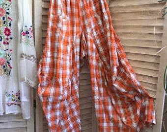 size medium orange and navy plaid cotton lagenlook pant