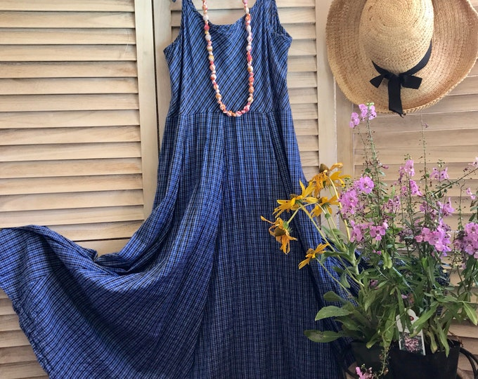Spaghetti strap cotton sundress in denim blue cotton plaid