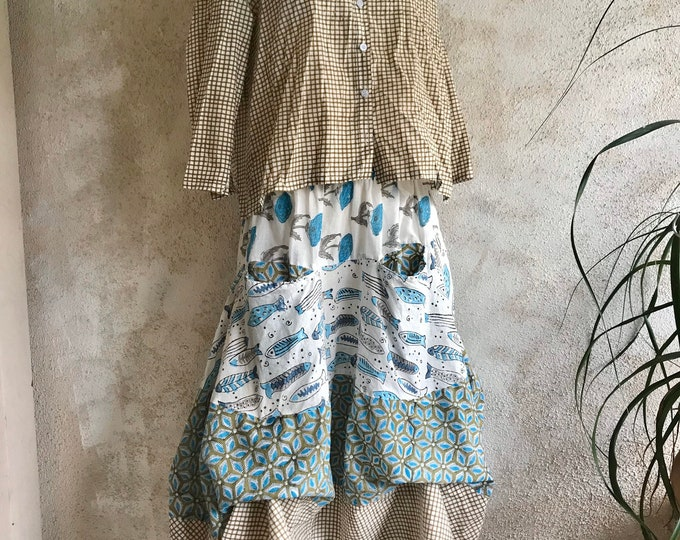 Prairie skirt in cotton voile mixed block prints