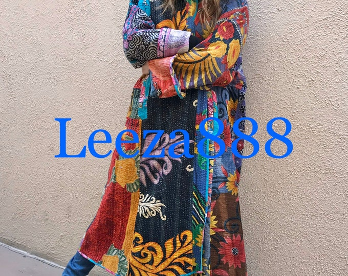 The Vibrant Nomad plus size reversible opera kantha coat