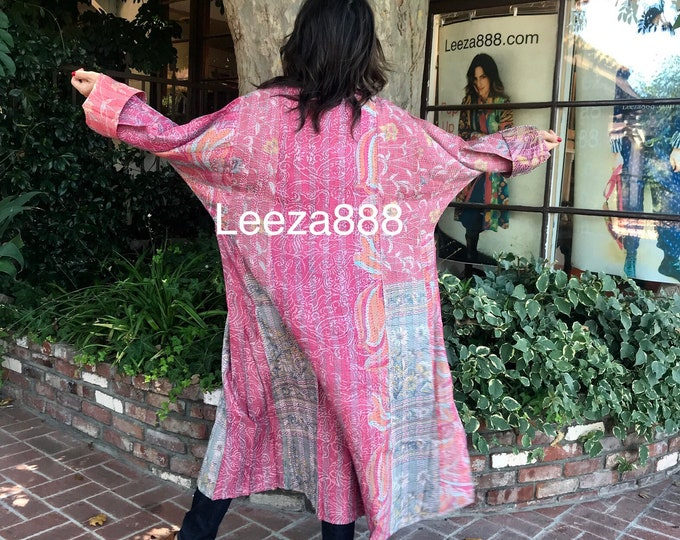 tropical pink colors of nature plus size reversible silk kantha duster/kimono