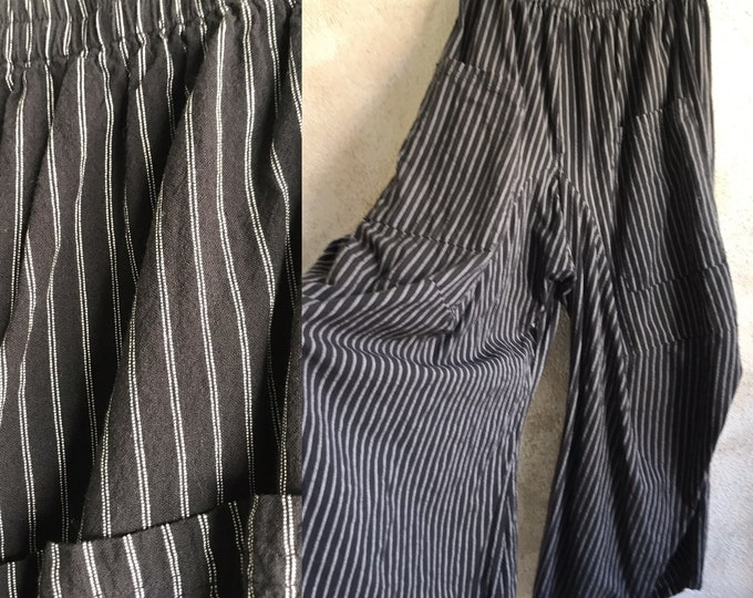 Size large black and white striped cotton funky pant