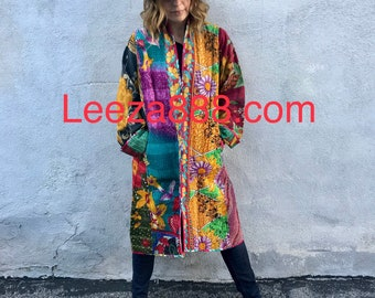 Artist reversible cotton kantha coat