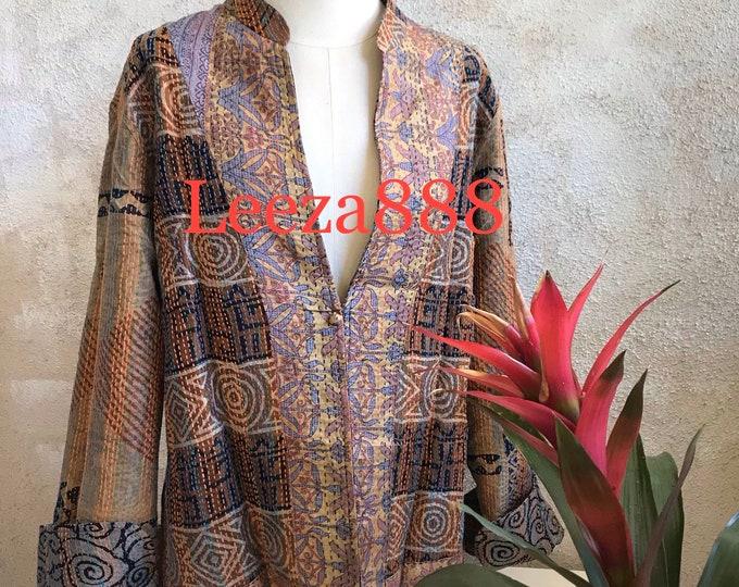 Berkeley babe mandarin style reversible kantha cropped jacket