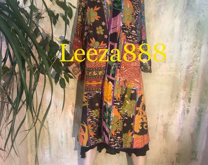 Colors of the tropical forest reversible cotton kantha coat
