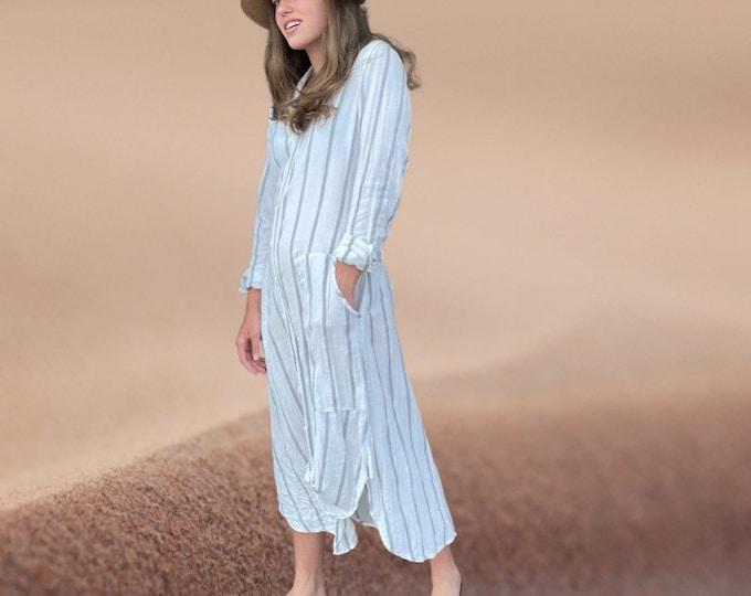 Lightweight cotton Moroccan stripe with lurex button down shirtdress/duster