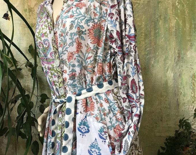 Mixed print block printed button down shirtdress/duster