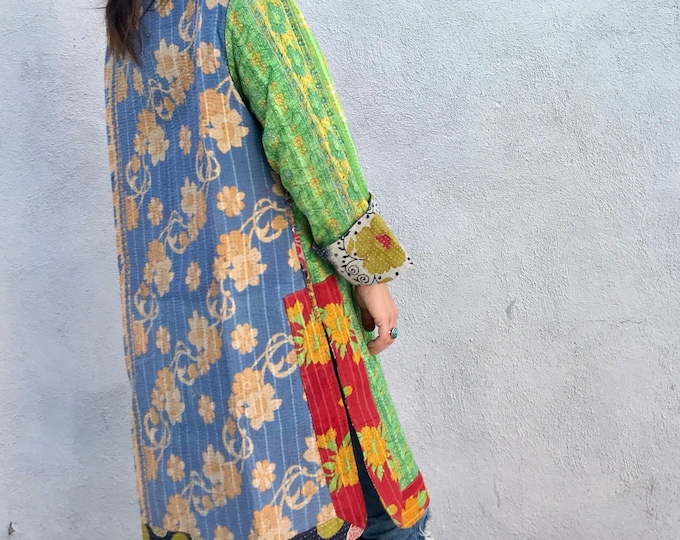Amazing cotton kantha reversible duster