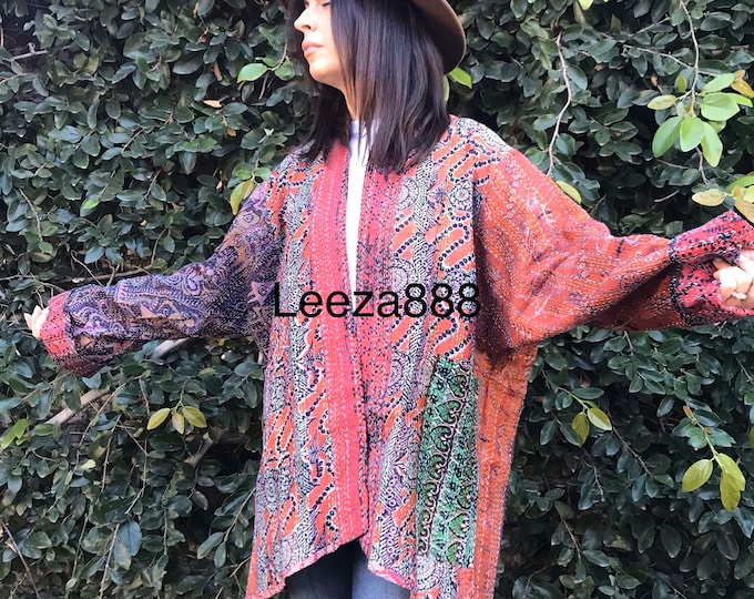 Sonoma wine country silk kantha plus size reversible kimono jacket