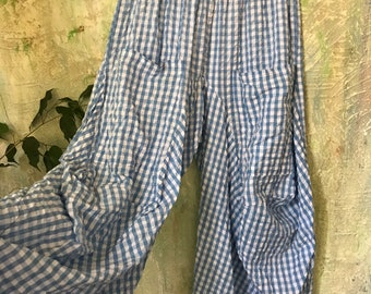 Pool blue Seersucker gingham check super lightweight cotton lagenlook pant