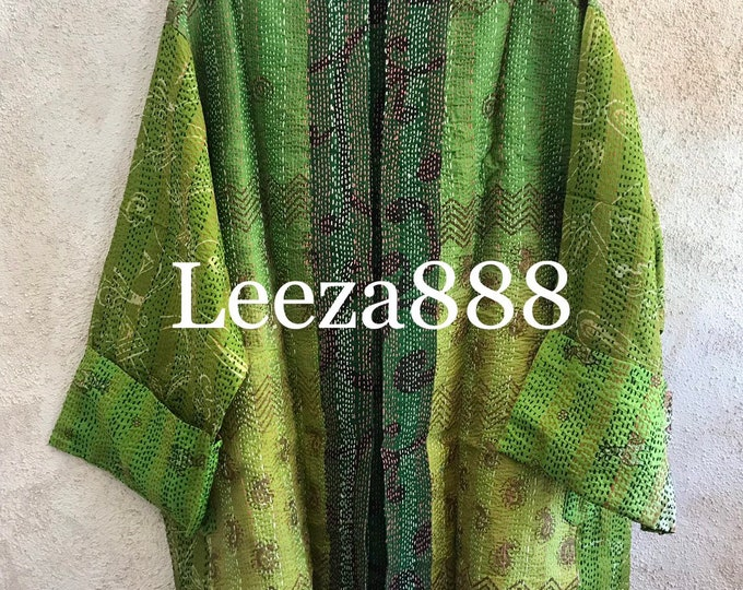 Green is good Plus size reversible upcycled silk sari kantha jacket in gorgeous green hello redheads!