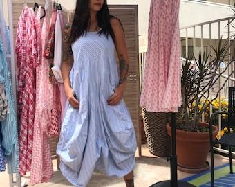 blue pinstriped cotton sleeveless funky dress