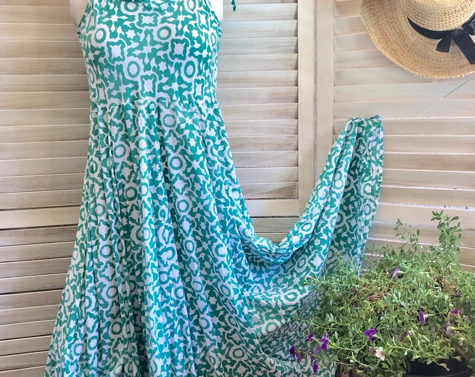 Spaghetti  strap cotton sundress in hand block printed green geometric design