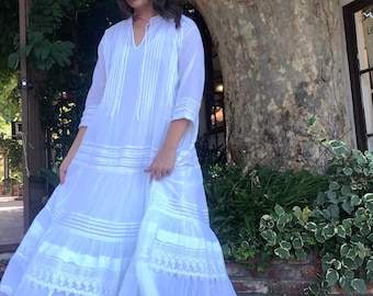 Stunning white cotton voile with lace and pintucks dress