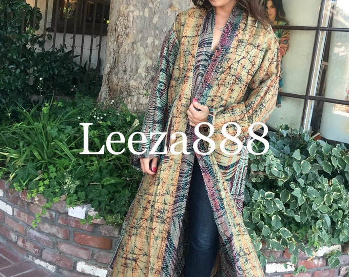 Earthy Zebra stripe plus size reversible silk kantha duster/kimono