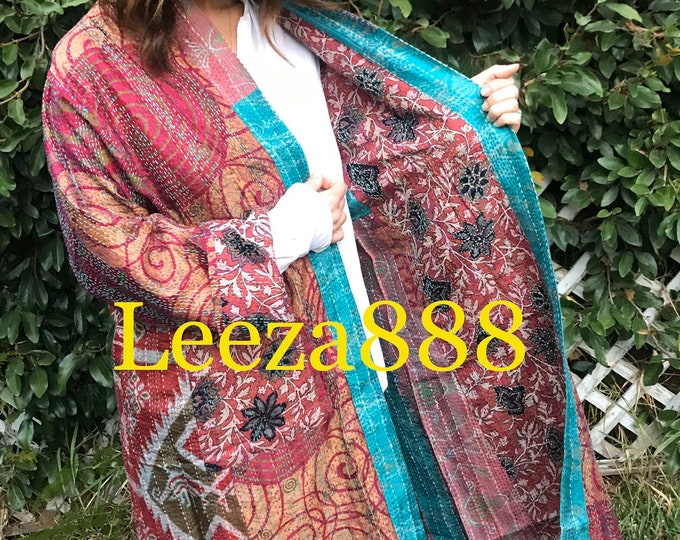Vineyard tasting tour plus size reversible silk kantha duster/kimono