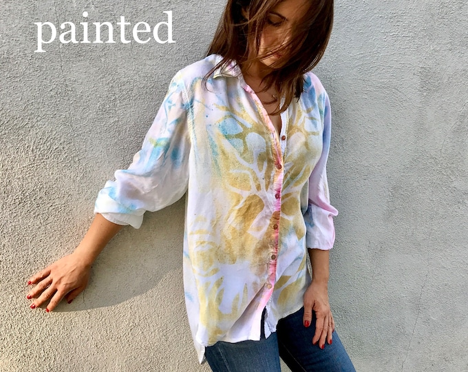 Button down hand painted shirt