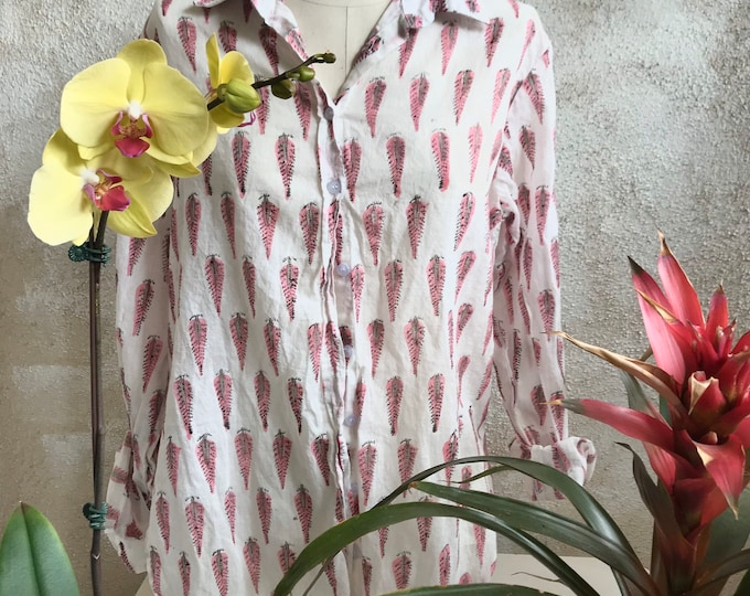 Washed hand blockprint pink feather cotton voile classic button down boyfriend shirt