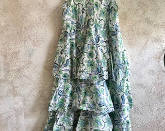 Green and blue floral Jessica 4 tiered sundress in cotton voile